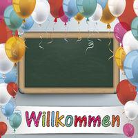 Blackboard Balloons Willkommen