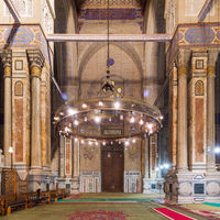 Al Rifaii Mosque, aka Royal Mosque, Cairo, Egypt, with huge marble columns and walls decorated with calligraphy