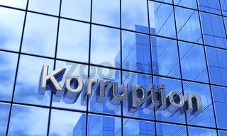 3D Fassaden Text Konzept - Korruption