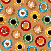 Pattern of different coffee cups over beige