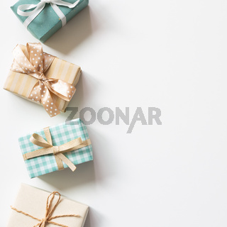Gift boxes on white background. flat lay, top view, copy space