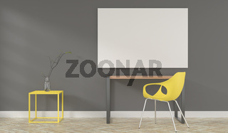 Puristic modern home office room with a blank mock up poster