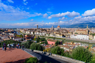 Panoramic view of the city of Florence from Michelangelo Square in Italy
