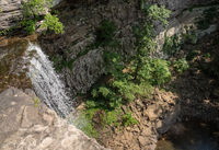 Waterfall at Ozone Falls in Tennessee showing the lip of the gorge