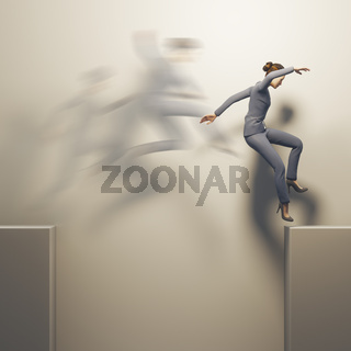 business woman jumps over a gap
