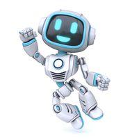 Cute blue robot happy jumping 3D