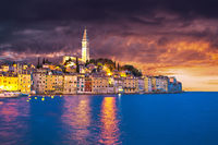 Rovinj. Town of Rovinj waterfront dramatic sky view