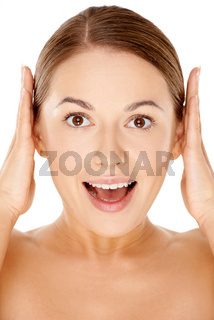 Woman with a happy excited expression