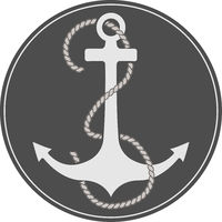 anchor and rope in dark circle