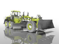 Concept green grader 3d render on white background with shadow