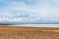 holy lake and snow mountain in tibet