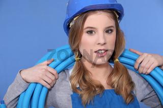 Blue plastic tube