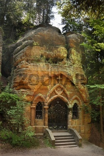 Rock chapel Modlivy Dul near Sloup in Czech Republic