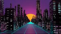 Vaporwave cyberpank city background. 3D illustration, 3D rendering.