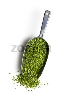 green chives in metal scoop