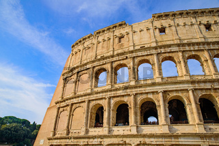 Colosseum, an oval amphitheatre and the most popular tourist attraction in Rome, Italy
