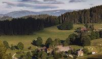 Saig im Morgenlicht, Blick zum Feldberg im Schwarzwald