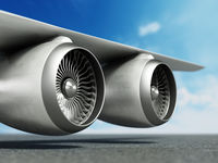 Jet engines in the wing of a passenger airplane. 3D illustration
