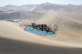 beautiful crescent lake from above in dunhuang