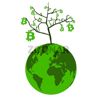Bitcoin growth concept on planet Earth isolated on white. Tree with leaves from bitcoins. Vector illustration.