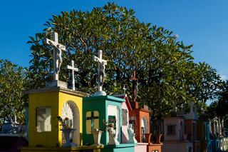 Tombstones with jesus crosses at the cemetery 'Cementerio General' in Merida, Mexico