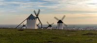 the historic whitewashed Spanish windmills of La Mancha above the town of Campo de Criptana in warm evening light