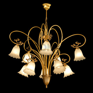 Vintage chandelier isolated on black