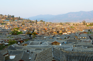 roofs of lijiang old town, yunnan, china