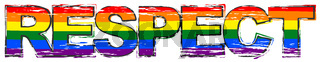 Word RESPECT with rainbow flag (symbol of LBGT) under it, distressed grunge look.
