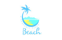 Vector icon for the beach with the image of a palm tree and the sea