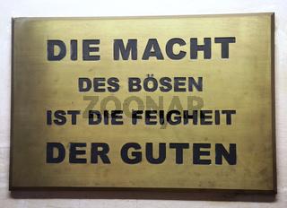 Tafel in der Gedenkstätte Moritzplatz in Magdeburg Neustadt-