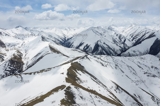 aerial view of the snow mountain background
