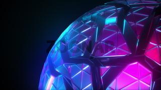 Mesh neon sphere in cracks.