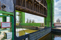 Iron construction of boatlift near German magdeburg with proscription warning