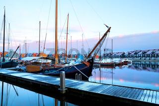 ship in sunrise at Reitdiephaven, Groningen, Netherlands