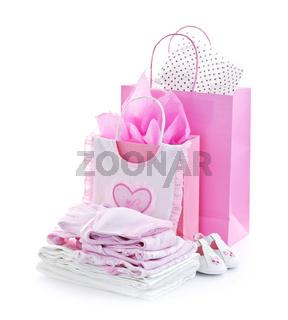 Pink baby shower presents