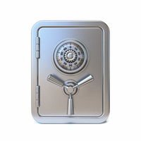 Locked steel safe Front view 3D