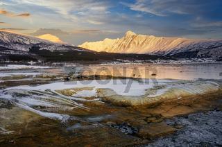Lyngseidet Karnes mountain at sunrise in Northern Norway