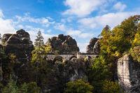 Blick auf die Bastei in der Sächsische Schweiz