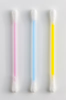 3 colorful plastic Q-tips / cotton buds on white
