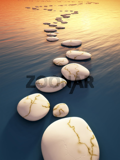 step stones sunset
