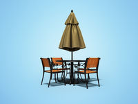 Closed umbrella for restaurant on central pillar with round table 3D render on blue background with shadow