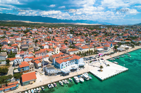 Town of Novalja waterfront on Pag island aerial