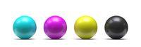 Spheres in CMYK colors - cyan, magenta, yellow, black 3D