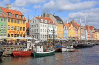 Scenic view of Nyhavn in Copenhagen, Denmark