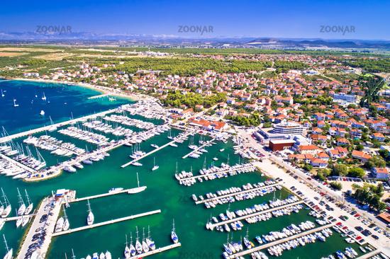 Biograd na Moru coastline and marina aerial view