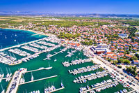 Biograd na Moru coastline and marina aerial view