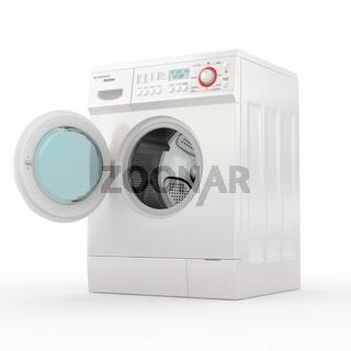 Opening washing machine on white background. 3d