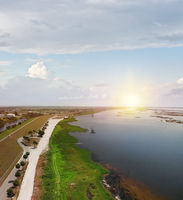 Lake Okeechobee scenic trail and park. Aerial view.