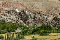 Basgo village at the harvesting time and the monastery above